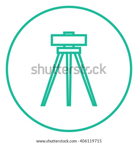 Theodolite on tripod line icon.