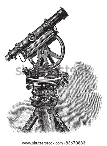 Theodolite, vintage engraved illustration. Theodolite isolated on white. Theodolite a measuring instrument isolated on white. Trousset encyclopedia (1886 - 1891). - stock vector