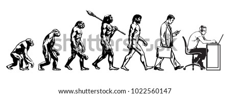 Theory Evolution Man Human Development Monkey 1022560147 on volleyball template free