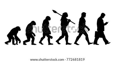 Theory of evolution of man silhouette. Human development from monkey to modern businessmen with  briefcase talking on mobile phone. Hand drawn sketch vector illustration isolated on white background.
