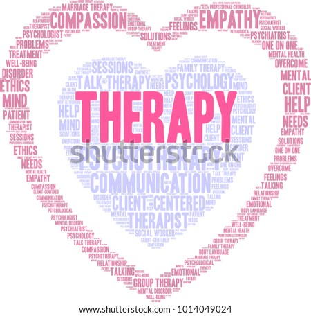 Therapy Word Cloud On White Background Stock Vector