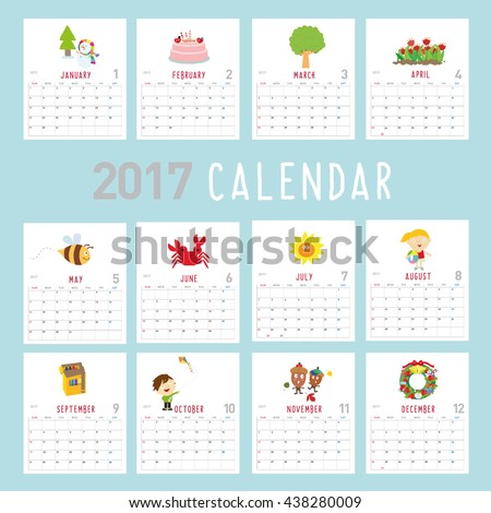 There are 12 different pictures for each month - stock vector