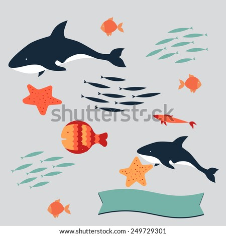 There are many different types of fish: big and small, predators and victims. It's like a big aquarium with orange starfish, dangerous sharks, shoals of blue herrings, plankton, swellfish. - stock vector