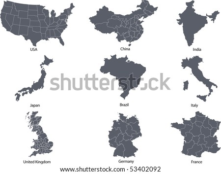 There are maps of some most leading countries in the world - stock vector