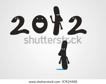 There comes 2012 and one unit should leave - stock vector