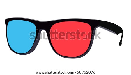 There is a 3d eyeglass, one glass red, other blue, vector