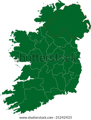 There is a map of Ireland country - stock vector