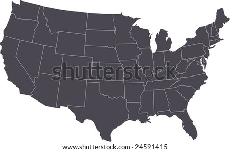 There is a map of USA country - stock vector