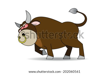 There is a rabid brown bull with a gold ring in the nose and red eyes.
