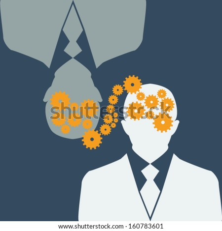There is an exchange of gears  between two  silhouettes of people - stock vector