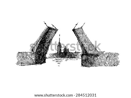 There is  the Admiralty in the gap between truss drawbridge on the graphic illustration. - stock vector