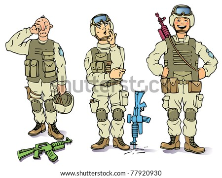 There is the three soldiers in the US army uniform - the sad one, the thoughtful and the happy.
