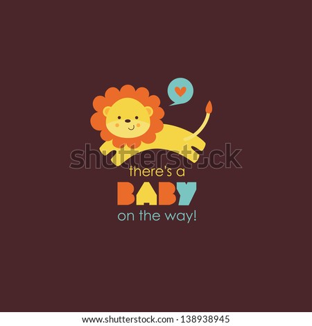 there's a baby on the way card. vector illustration - stock vector