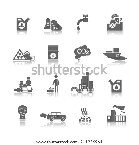 Thermal air and water toxic chemicals power plants hazardous pollution black abstract icons set isolated vector illustration - stock vector
