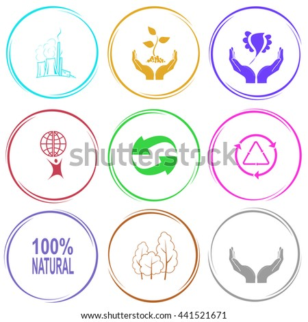 thermal power engineering, plant in hands, bird in hands, little man with globe, recycle symbol, 100% natural, trees, human hands. Ecology set. Internet button. Vector icons. - stock vector