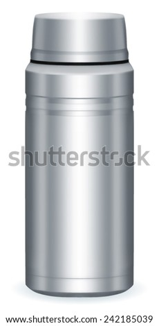 Thermo flask on the white background. EPS-10 - stock vector