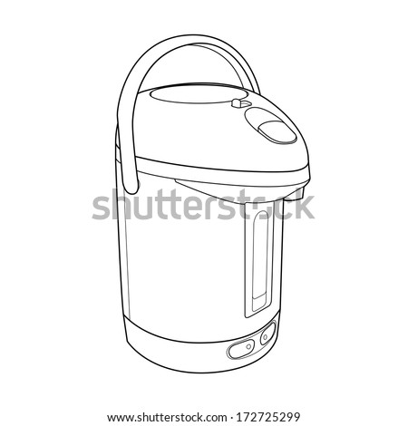 Thermo Pot out line vector - stock vector