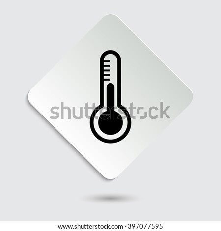 Thermometer - black vector icon  on a paper button - stock vector