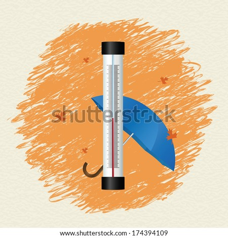 Thermometer by seasons. Autumn. Vector illustration - stock vector