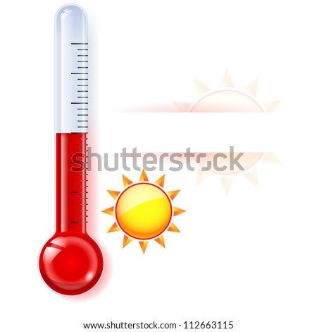 Thermometer by seasons. Summer. Illustration on white - stock vector