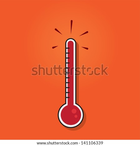 Thermometer filled to the top  - stock vector