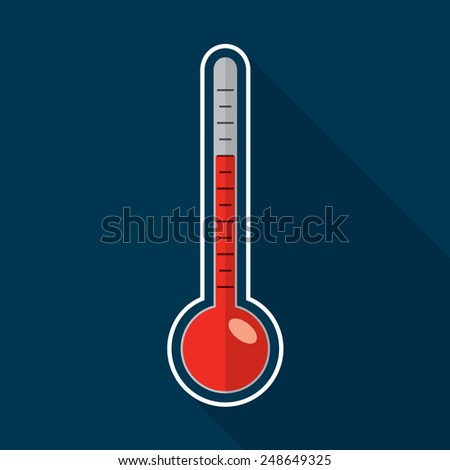 Thermometer flat icon design. Hot weather concept. - stock vector
