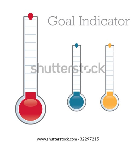 Thermometer graphic showing progress towards fundraiser goal - stock vector