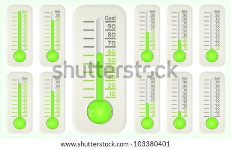 Thermometer green graphic showing progress towards goal, vector, 10eps. - stock vector