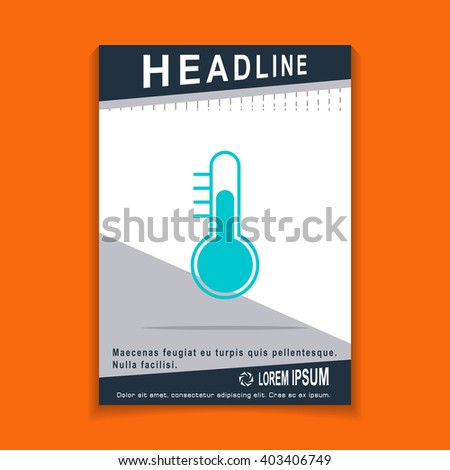 Thermometer icon, flyers brochure Vector Layout template, size A4 - stock vector
