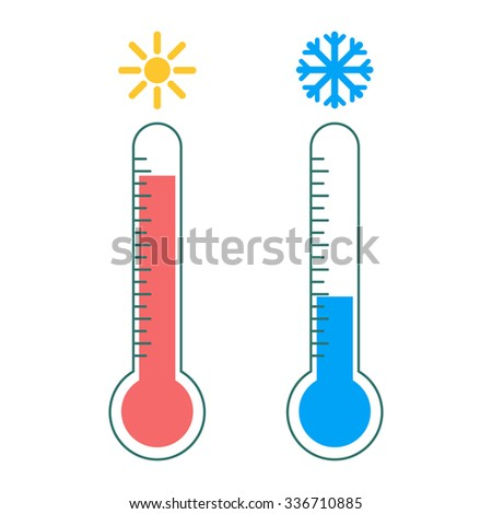 Thermometer icon. Hot and cold - stock vector