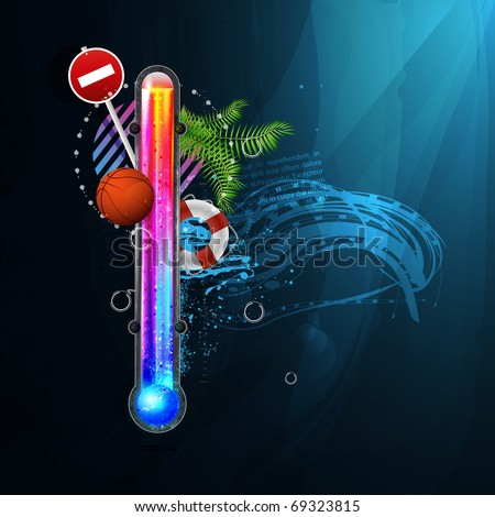thermometer icon of hot and cold indicator. EPS10, and transparency. Season, winter summer. Arial text in the curves. - stock vector
