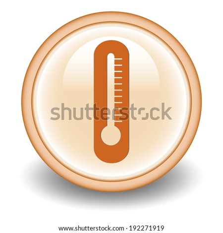 Thermometer icon on circle  button - stock vector