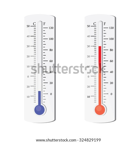 Thermometer icon. Vector. Celsius and Fahrenheit. measuring hot and cold temperature