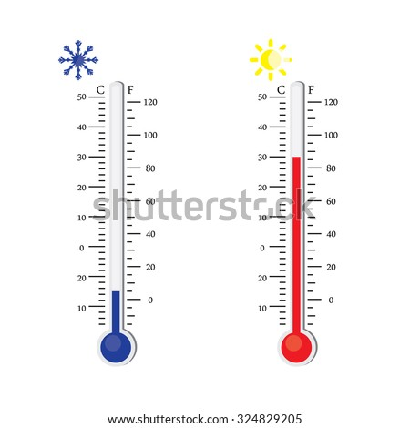 Thermometer icon. Vector. Celsius and Fahrenheit. measuring hot and cold temperature. Sun and snowflake winter and summer symbols - stock vector