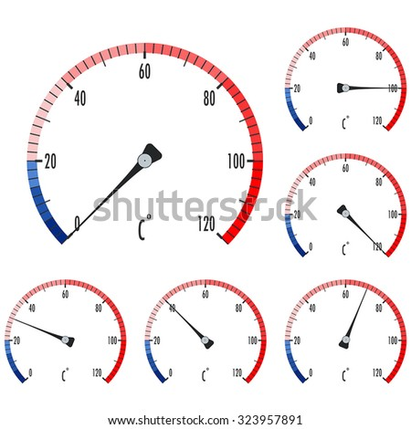 Thermometer. Round icon. Vector isolated on white background. - stock vector