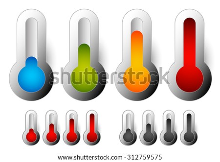 Thermometer set. Vector illustration.