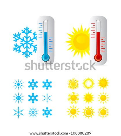 Thermometer vector set. - stock vector