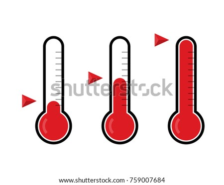 Thermometers icon set. Flat vector thermometer illustration with three different states (cold, medium, hot)