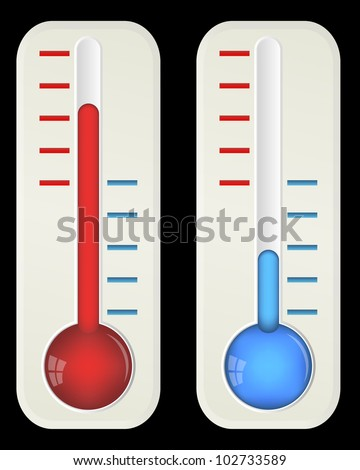 Thermometers on black, vector, 10eps. - stock vector