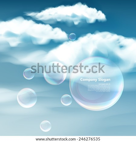 These soap bubbles floats calmly against a clear deep blue sky and clouds representing natural 'Thought Bubbles' on possible ideas for clean atmosphere, fresh air and a green environment. - stock vector