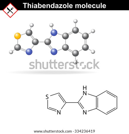 Thiabendazole molecule - antiparasitic and antifungal, food additive, �?233, vector eps 8 - stock vector