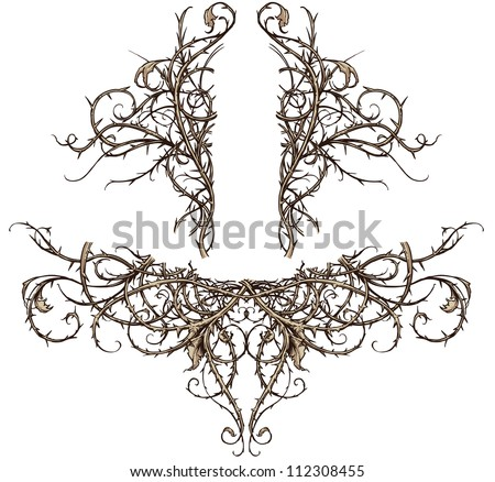 Thicket Design Accents Vector set of two highly detailed thorny thicket design elements. These scroll ornaments are perfect for accents in backgrounds, crests, banners, etc. - stock vector