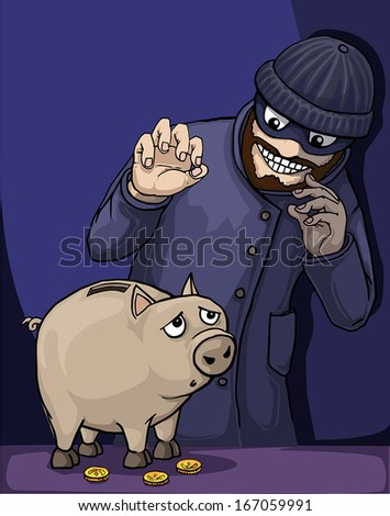 Thief about to steal a piggy bank of savings, vector illustration - stock vector