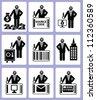Thief and cracker,key icon set,Vector - stock vector