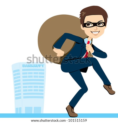 Thief Businessman in suit lifting heavy bag full of stolen profits leaving bankrupt company behind - stock vector