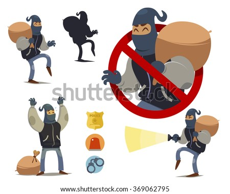 Thief cartoon character. police badge icon, police light icon, handcuffs icon - stock vector