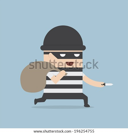 Thief cartoon holding knife in his hand and carrying a money bag, VECTOR, EPS10 - stock vector
