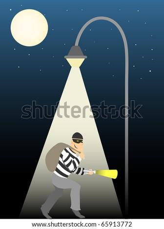 Thief creeping under full moon street lamp - stock vector