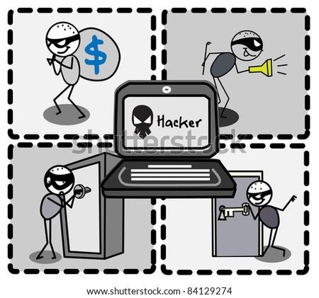 thief hacker vector - stock vector