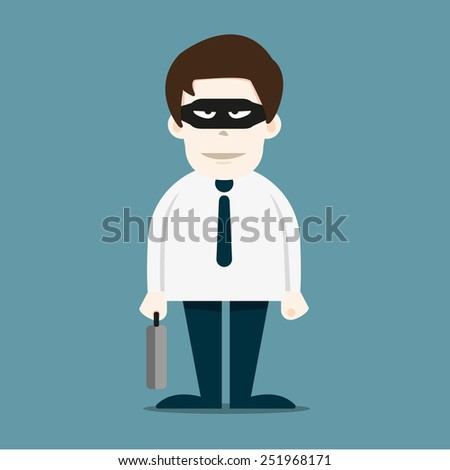 Thief in business man - stock vector